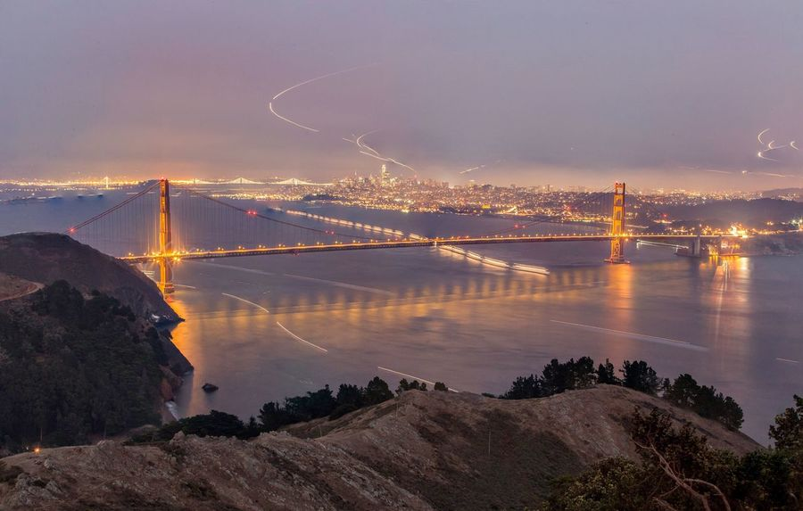 Golden Gate Bridge at Blue Hour with light trails Connection Sky Architecture Built Structure Suspension Bridge No People Bridge - Man Made Structure Outdoors Illuminated Water Night Nature Transportation River Travel Destinations Mountain Beauty In Nature Golden Gate Bridge San Francisco Blue Hour Night Photography Lights Travel Long Exposure Landmark Connected By Travel EyeEmNewHere