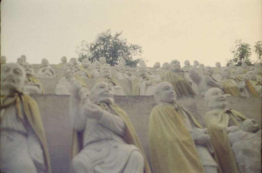 Analogue Photography Buddha Buddhist Temple China China Beauty Day Low Angle View Monastery No People Outdoors Sky Statue Thousand Buddhas