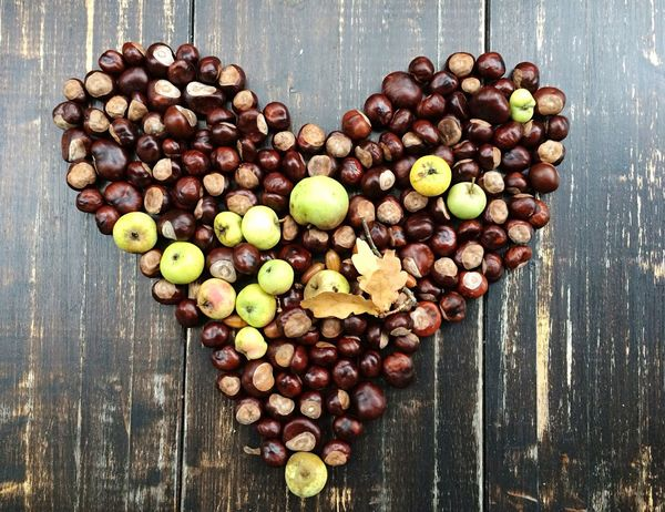 Heart Heart Shape Valentine's Day  Love Season  Fall Autumn High Angle View Food Wood - Material Table No People Large Group Of Objects Chestnut Day Lovethefall Apples Transience