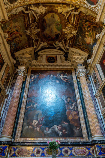 Belief Religion Place Of Worship Architecture Spirituality Human Representation Indoors  Mural Representation Low Angle View Built Structure Building Art And Craft Travel Destinations Male Likeness Female Likeness Ceiling No People Paintings Fresco Altar