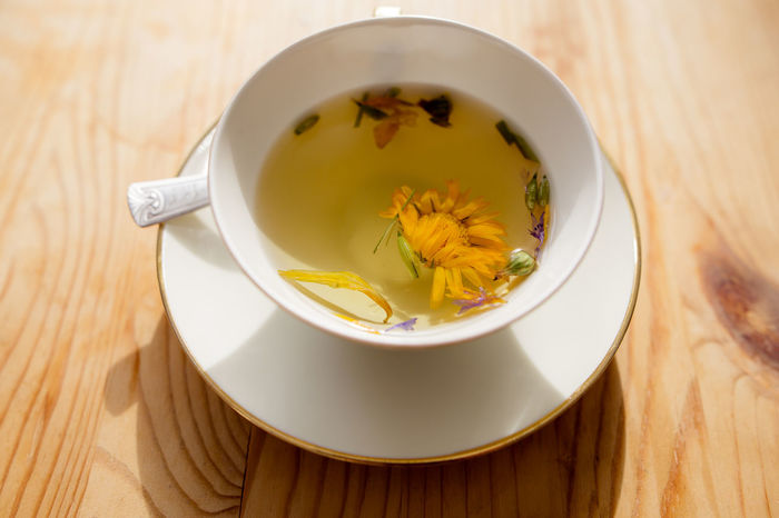Herbs Sunny Wooden Table Close-up Cup Dandelion Day Flower Freshness Healing Herbs Healthy Healthy Lifestyle Herbal Tea Indoors  No People Table Tea - Hot Drink Tea Cup Wooden Background