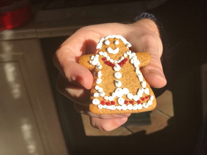 Gingerbread Man Gingerbread Cookie Biscuit EyeEm Selects Sweet Food One Person Sweet Food And Drink Indulgence Food Holding Human Body Part Human Hand Indoors  Dessert Baked Ready-to-eat