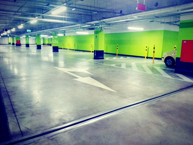 Parking Lot Parking Garage Car Garage Empty Colorful Sign Pointing Lights Urban Architecture Space Here Belongs To Me