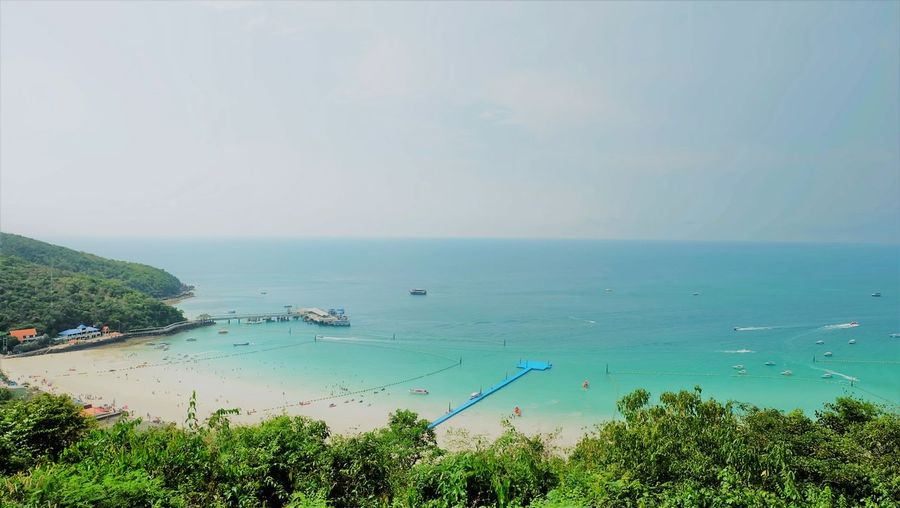 High angle view of sea against clear sky