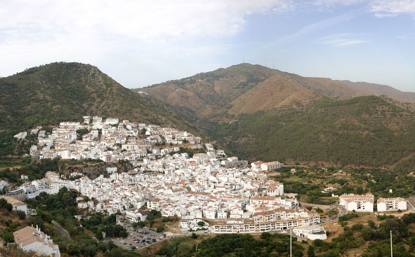 Aerial view of Ojen, white village over a hillside near Marbella, Spain. HDR Day Forest Landscape Mountain Mountain Range Nature No People Outdoors Scenics Sky Tree