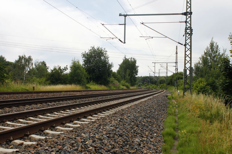 rail railway railtrack transport iron Cable Clear Sky Connection Day Electricity  Electricity Pylon Grass Landscape Nature No People Outdoors Power Line  Power Supply Rail Transportation Railroad Track Sky Transportation Tree