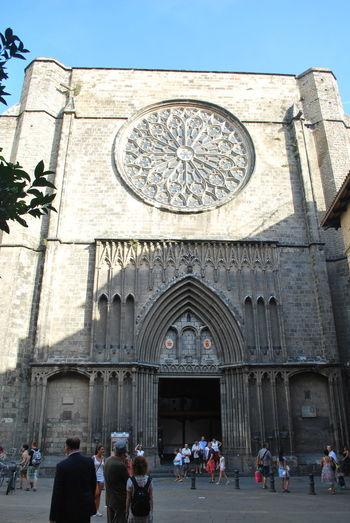 Adult Adults Only Arch Architecture Barcelona Barcelona, Spain Building Exterior Catalonia Catalunya Church Clock Clock Tower Day Façade Gothic Style Large Group Of People Men Outdoors People Place Of Worship Religion SPAIN Tourism Travel Destinations
