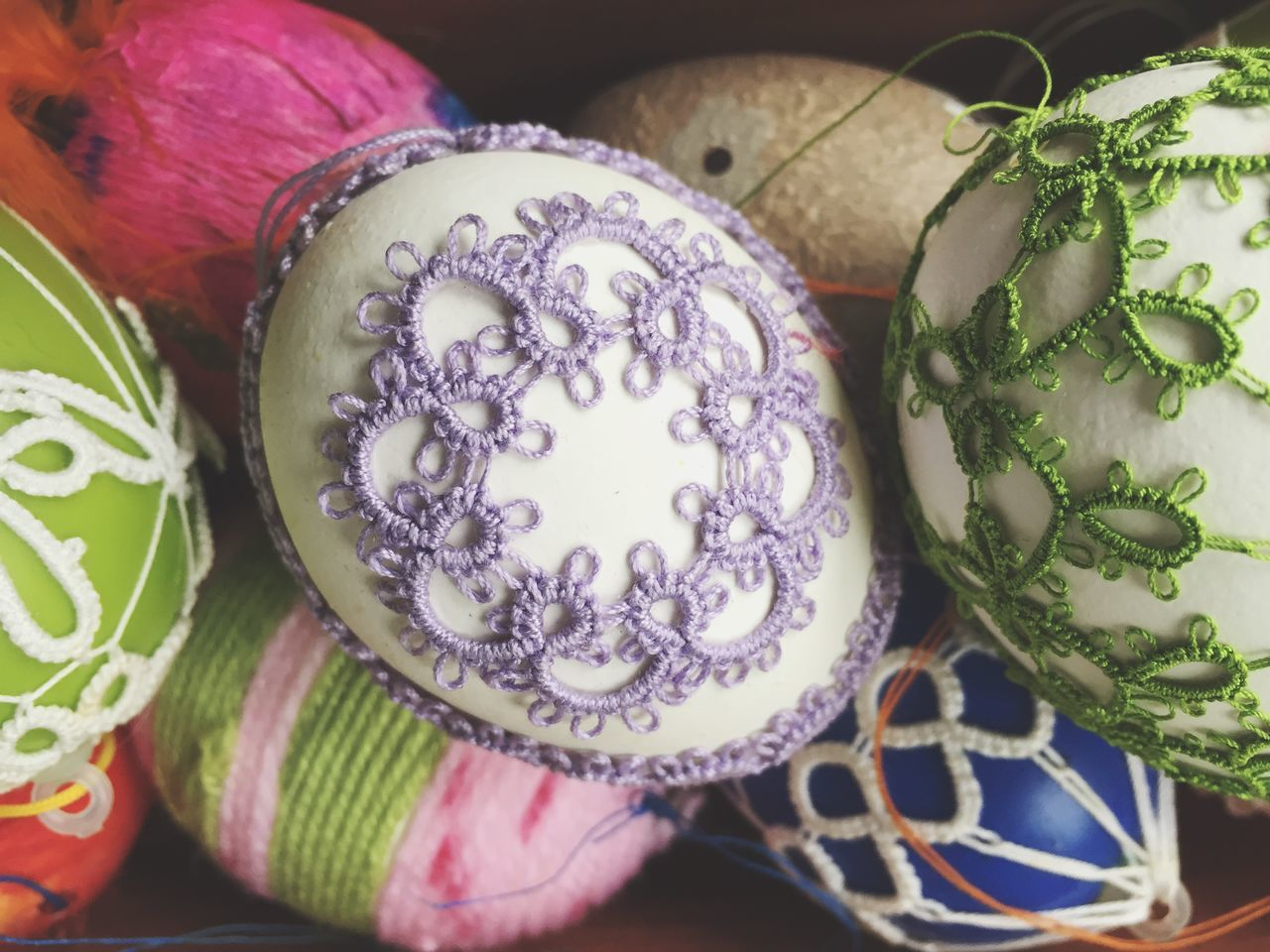 Close-Up Of Embroidered Easter Eggs At Home