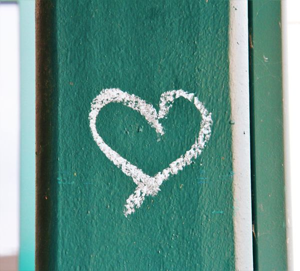 Close-up of heart shape on white wall