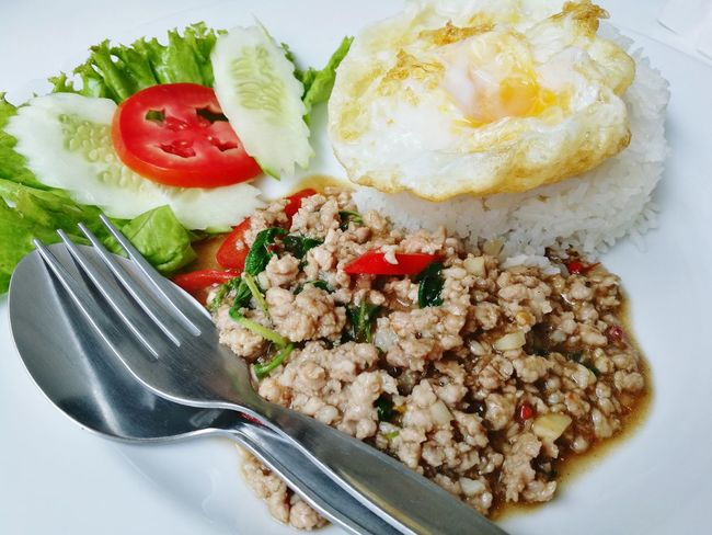 Spicy Minced Pork with Fried Egg Fried Egg Thai Style Fried Egg Minced Pork Spicy Minced Pork Food Close-up Thai Food Style Serving Size Ready-to-eat No People No Setup Thai Food Spicy Food Spicy Thai Food