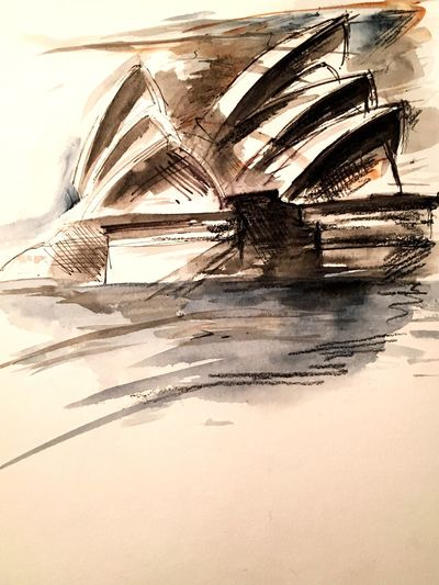 Sidney Aquarell Zeichnung  Beach Outdoors Day Built Structure No People Sea Nature Sky Close-up Architecture