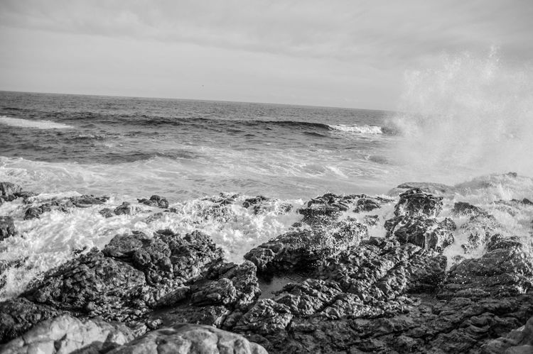 Sea Water Horizon Over Water Wave Beach Nature Beauty In Nature Outdoors Power In Nature Day No People Sky Landscape Landscape_Collection Splashing Wave Cape Town, South Africa Sand Beauty In Nature Black Blackandwhite Blackandwhite Photography