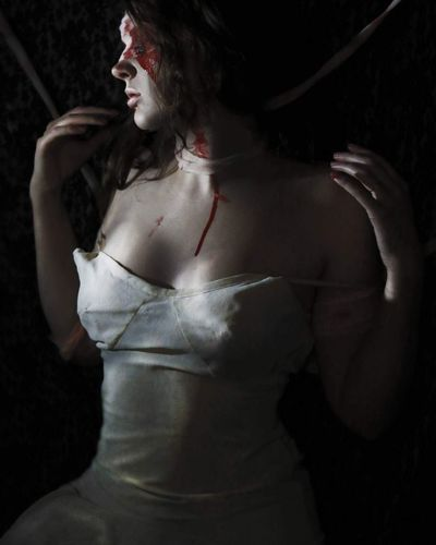EyeEm Selects Black Background Halloween Horror BLOODY Blood Scary Horror Photography Bride Artistic Dress Dark Darkart Scream Macabre Black