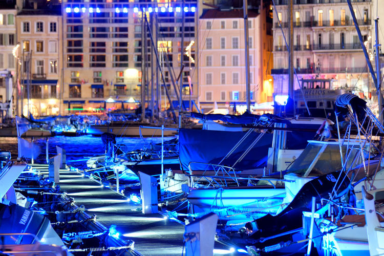 Blue is a Color of the Sea Night City Light France Boats Blue Travel Color Pier Outdoors Illuminated Marseille Europe No People Vessels My Best Photo FR250_MARSEILLE_AK FR250_FRANCE_AK