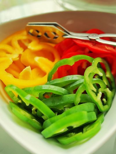 High angle view of chopped vegetables in bowl