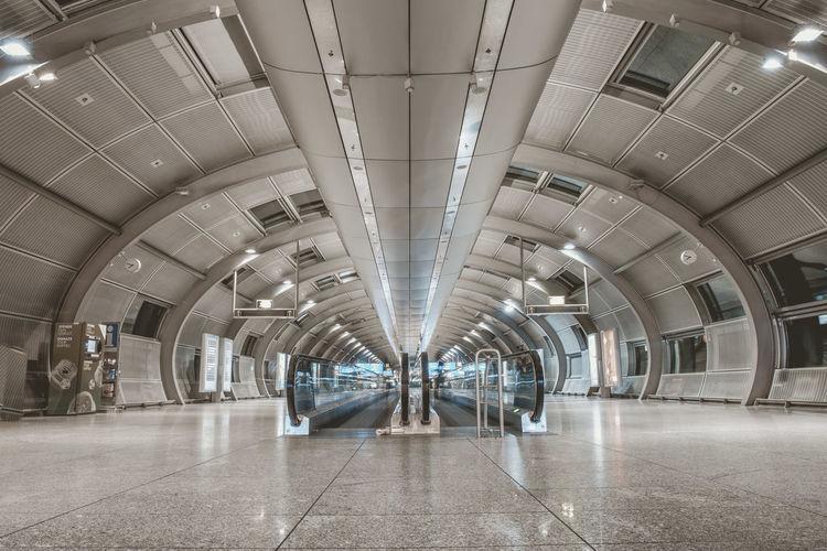 View of empty underground walkway