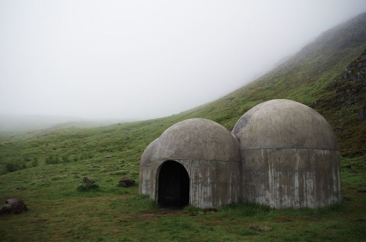 concrete art in iceland, seydisfjordur. Alone Architecture Art Beton Cold Cold Temperature Concrete Concrete Art Day Fog Hiking Hut Iceland Landscape Nature Nature No People Outdoors Rainy Rural Scene Seyðisfjörður Solitary Solitude Survival Travel Destinations