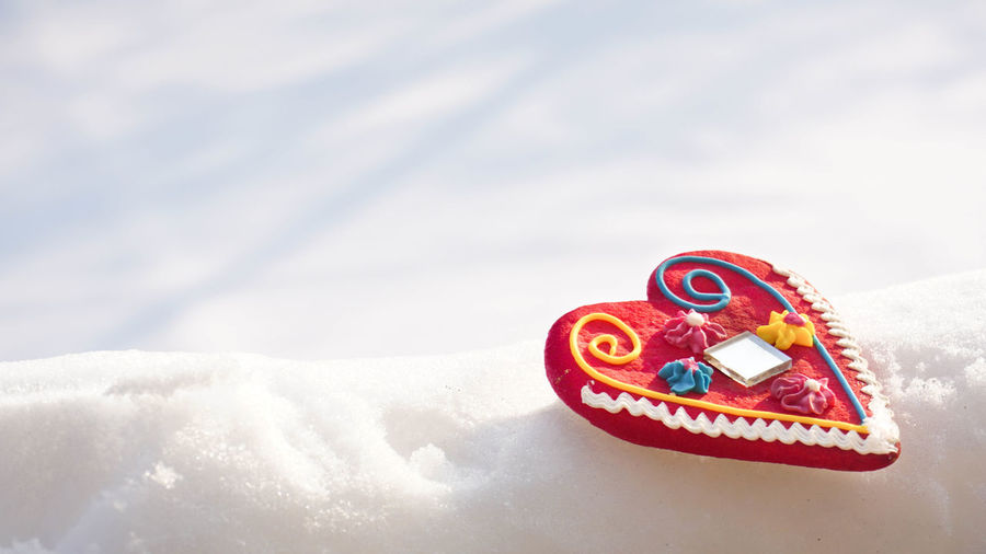 Snow Winter Cold Temperature Food And Drink Food No People Nature Sweet Food Multi Colored Celebration Sweet Copy Space White Color Frozen Positive Emotion Emotion Close-up Outdoors Day Heart Gift Valentine's Day