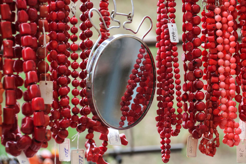 Abundance Adornment Beads Coral Handmade Handmade Fair Hanging Large Group Of Objects Mirror Mirror Reflection Necklace Necklace For Sale No People Outdoors Red Sale Kiev Ukraine Kiev