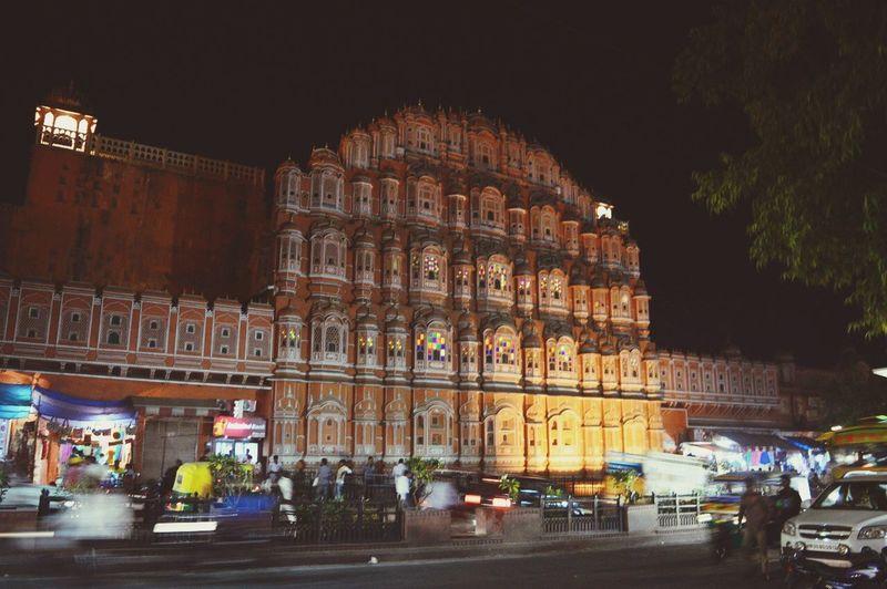 Rajasthan Jaipur India Night Architecture Night Building Exterior Built Structure Illuminated City Transportation Travel Travel Destinations Building Street