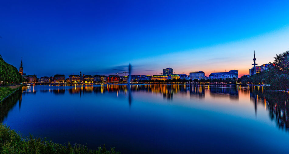 Hamburg Illuminated Sky Architecture City Built Structure Outdoors Water Blue Reflection Nature Clear Sky Cityscape Residential District Waterfront Jungfernstieg Jungfernstieg, Hamburg Night Nightphotography