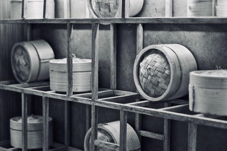 Bamboo steamer in shelves