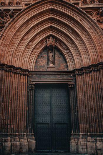 Low angle view of door of building