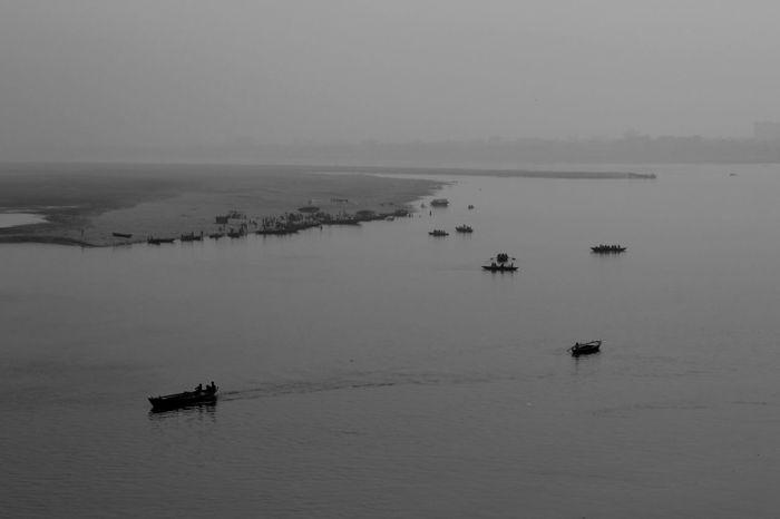 #India #varanasi Beauty In Nature Blackandwhitelandcape Boat Landscape Misty Tranquil Scene Tranquility