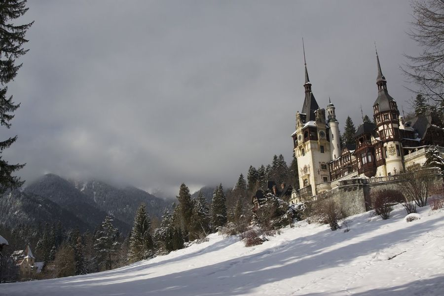 Building Exterior Castle Cold Cold Temperature No People Outdoors Peles Season  Sky Snow Weather Winter