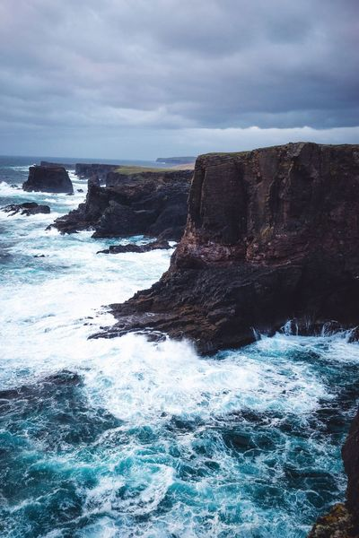 Shetland coastline. Sea Nature Beauty In Nature Scenics Water Tranquility Tranquil Scene Sky Day Waterfront No People Outdoors Horizon Over Water