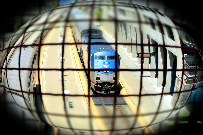 Train Station Catwalk 6 Jack London Square Port Of Oakland, Ca. Union Pacific Railroad Overpass Overpass View Tracks Amtrak Trains Distorted View Spherize Miniaturized Trains Train Engine Garage Railroad Photography Railroad _collection Train PlatformPattern Pieces Geometric Patterns