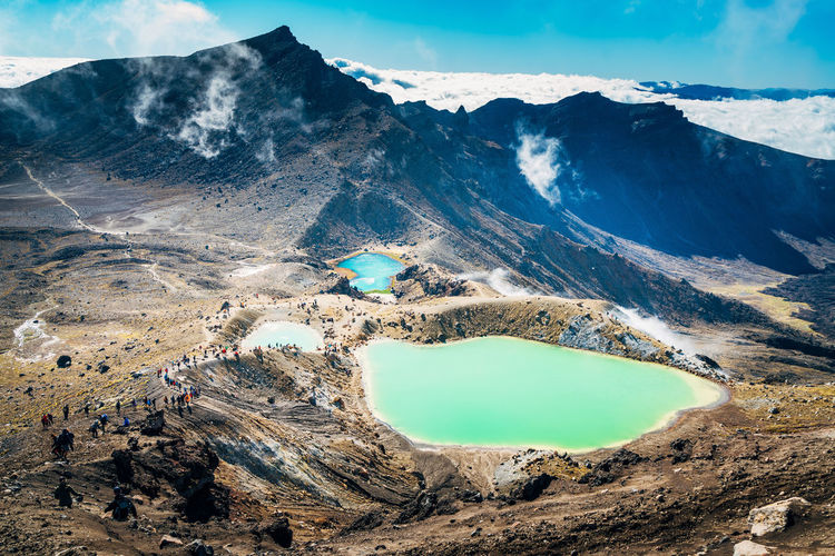 Tongariro National Park Arid Climate Beauty In Nature Day Environment Formation Geology Lake Land Landscape Mountain Mountain Range Nature No People Non-urban Scene Outdoors Physical Geography Remote Rock Scenics - Nature Sky Tranquil Scene Tranquility Turquoise Colored Volcanic Crater Water The Great Outdoors - 2018 EyeEm Awards