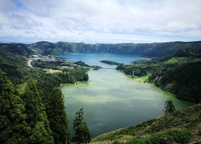 Sete Cidades Crater Sao Miguel. Sete Cidades Azores Twin Lakes Water Lake Tree Sky Cloud - Sky