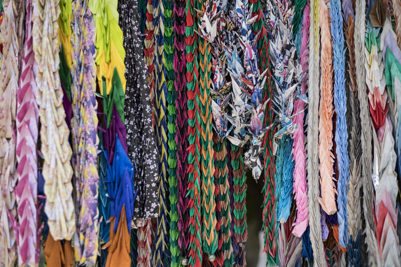 Row of colorful Origami decoration in Japanese temple. Japan Shrine Abundance Backgrounds Close-up Collection Colorful Cultural Decoration Full Frame Hanging Market Market Stall Multi Colored Origami Origamiart Outdoors Paper Paper Art Pattern Temple Temple - Building Textile Traditional Variation