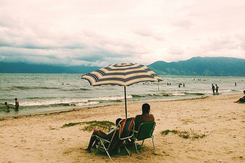 Tourists on beach