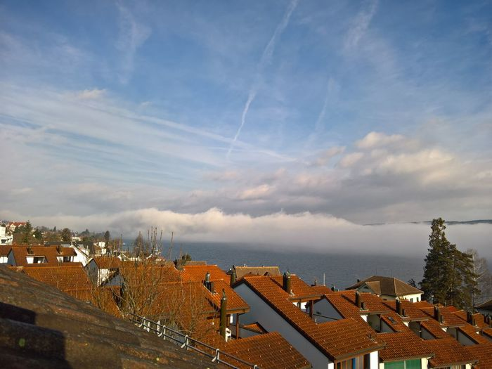 Atmosphere Atmospheric MoodBuilding Exterior Cloud Cloud - Sky Cloudscape Cloudy Dramatic Sky Horizon Over Land Human Settlement Landscape Moody Sky Overcast Residential District Roof Sky Urban Switzerland Lake Of Zurich Lake View Lake Weather Fog Over Water Sun Here Belongs To Me