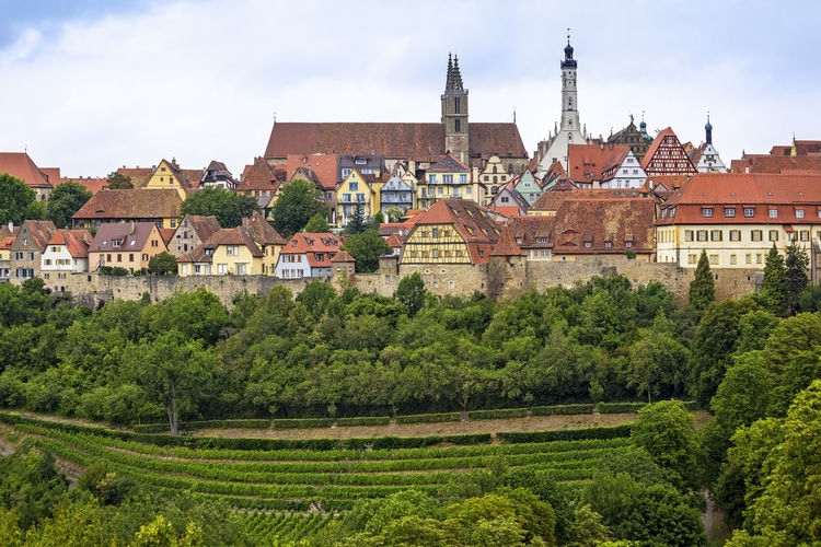 View to the medieval Town Rothenburg ob der Tauber. Architecture Building Exterior Built Structure City Cityscapes Cloud - Sky Day Germany Green Color Medieval Medieval Architecture MedievalTown Nature No People Outdoors Panorama Rothenburg Rothenburg Ob Der Tauber Sky Town Travel Destinations Tree Wall