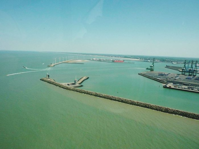 The port of Zeebrugge...during summer. Picture shot by a colleague. Radar Brugge Enjoying The View Check This Out Zeebrugge Working Hello World Belgium From An Airplane Window Panorama