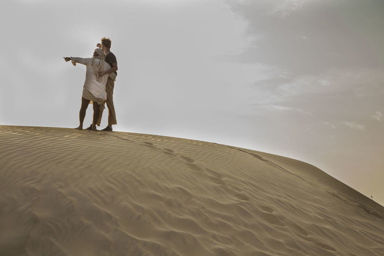 Brother Friendship Men Nature Outdoors Sand Sand Dune Sky Standing