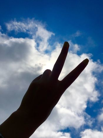 Blue Cloudy Hand Hands Pose Human Human Finger Human Hand Mudra Nature Outdoors Peace Silhouette Sky Woman's Hand My Sky In My Hand