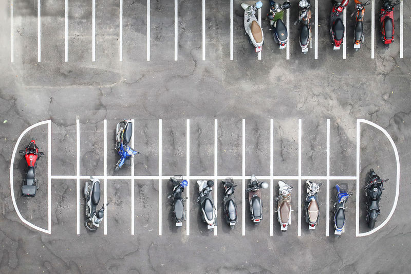 Holiday Motorcycle Parking Lot Tourist Travel Aerial View Concrete Floor Motorcycles Parking Outdoor Photography Parking Spaces