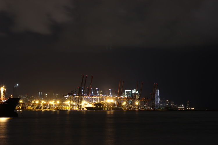 Architecture Beauty In Nature Built Structure Business Finance And Industry CGM  Cloud CMA CMACGM Cranes Harbor Illuminated Lebanon Nature Night No People Outdoors S Sea Sky Water
