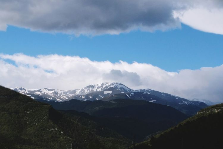 Landscape of mountains with snowy peaks