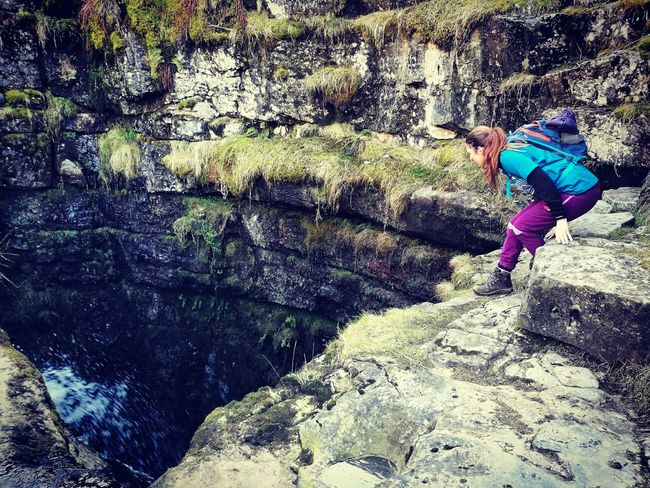 Potholes Gaping Gill North Yorkshire Moors One Person Nature Rock - Object Real People Rock Formation Leisure Activity Adventure Day Waterfall Young Women Sports Clothing Women Scenics Adult Tree People
