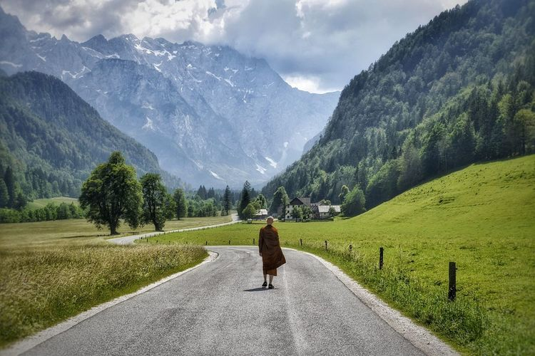 Hiking around Slovenian mountains. Rear View Mountain One Person Scenics - Nature Beauty In Nature Real People Mountain Range Nature Sky Tranquil Scene Outdoors Non-urban Scene Buddhism Buddhist Monks Monk  Alps Lake Scenery Nature Landscape Landscape_Collection