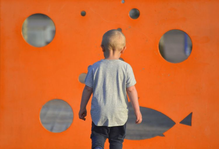 Rear View Of Boy Standing Against Orange Wall