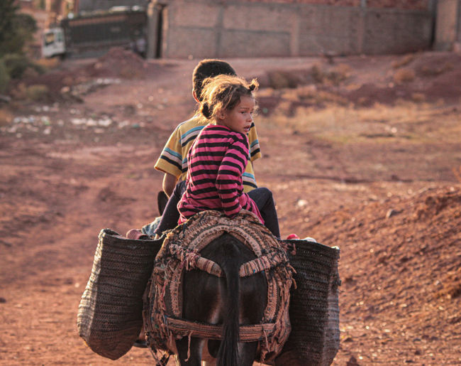 Rear view of siblings sitting on donkey