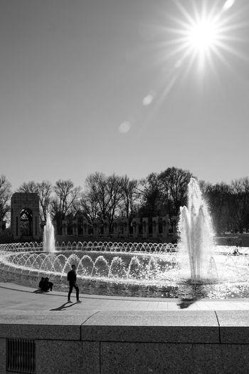 ww2 memorial in DC Monochrome Blackandwhite Fountain Memorial Washington Water Spraying Motion Irrigation Equipment Splashing Silhouette Fountain Sky Sprinkler Light Trail Watering Waterfall Flowing Flowing Water