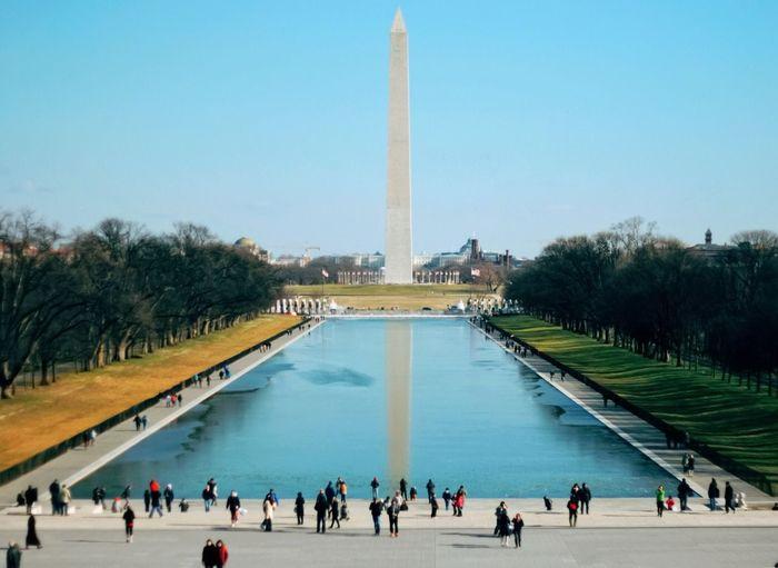 Washington monument on sunny day