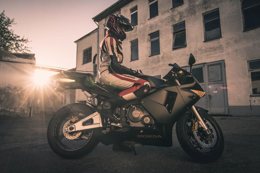 Woman on Honda CBR Woman Woman Portrait Woman Power Girl Girl Power Female Femme Motorcycles Motorbike Motorsport Black Golden Gold Sunshotz Sunset Sunlight Sun Industrial Industry Asphalt Honda Cbr BikerGirl Bike Biker
